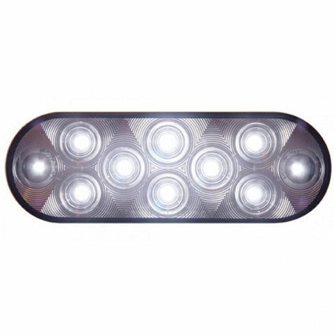 10 LED Oval Auxiliary/Utility Light - White LED/Clear Lens