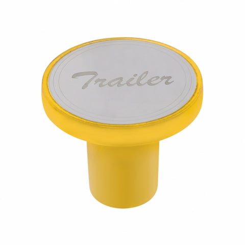 """Tractor"" Aluminum Screw-On Air Valve Knob w/Stainless Plaque - Electric Yellow"