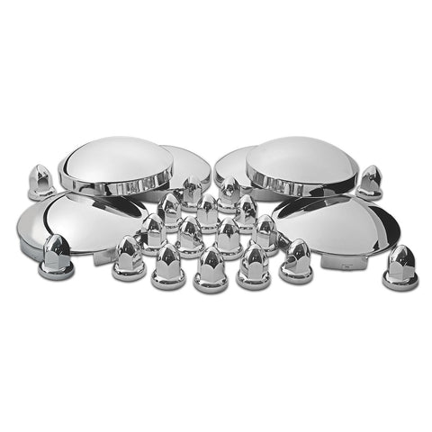 "Chrome Metal Front & Rear Hubcap Kit (2 x 6 Notch Front, 4 x 8"" Diameter Rear & 60 Push-On Nut Covers)"