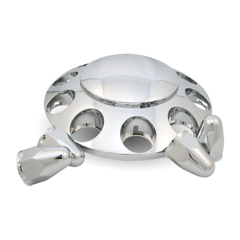 Chrome Plastic ABS Front Hub Cover with Removeable Hubcap & 10 x 1 1/2 Push-On Nut Covers""