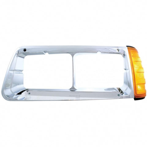 14 LED Freightliner FLD Headlight Bezel w/ Turn Signal (Driver) - Amber LED/Chrome Lens