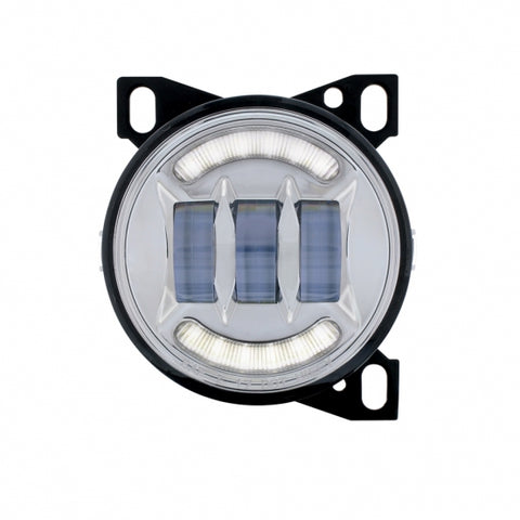 "4 1/4"" Chrome Round LED Fog Light with LED Position Light Bar for Peterbilt 579/587 & Kenworth T660 Series"