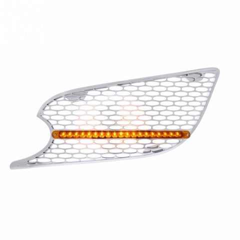 Chrome Air Intake Grille w/ Reflector LED Light For 2013+ Peterbilt 579 - Amber LED/Amber Lens