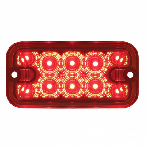 10 Red LED Dual Function Rectangular Light - Reflector - Red Lens