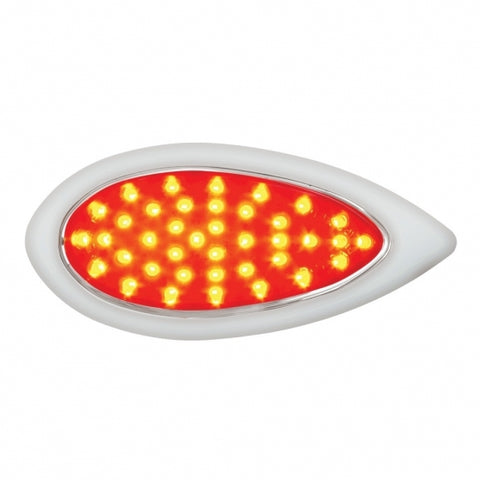"39 LED ""Teardrop"" Stop, Turn & Tail Light w/ Bezel - Red LED/Red Lens"
