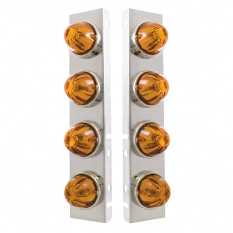 Peterbilt Stainless Front Air Cleaner Bracket w/ Eight Glass Watermelon Lights & Stainless Bezels - Amber Lens