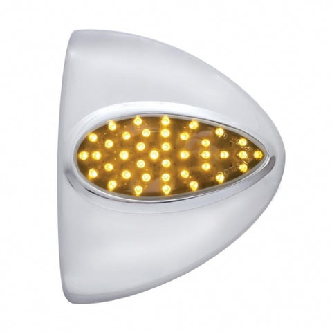 39 LED Teardrop Headlight Turn Signal Cover - Amber LED/Chrome Lens