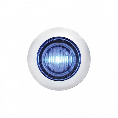 3 LED Mini Clearance/Marker Light w/ Bezel - Blue LED/Clear Lens