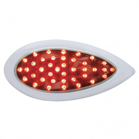 "39 LED ""Teardrop"" Auxiliary Light  w/ Bezel - Red LED w/ Chrome Lens"