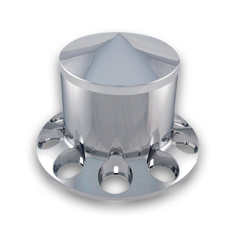 Chrome Plastic ABS Rear Hub Cover with Removeable Pointed Hubcap & 10 Holes for Nut Cover of Choice