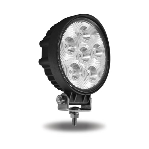 Universal White Round Work Light with Spot Beam - Clear Lens - Black Housing (6 Diodes) - 2400 Lumens