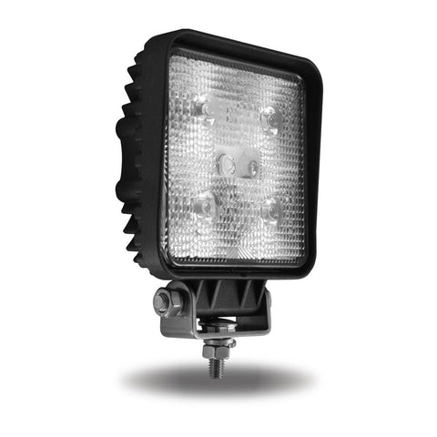 Universal White Square Spot Work Light - Clear Lens - Black Housing (5 Diodes) - 500 Lumens