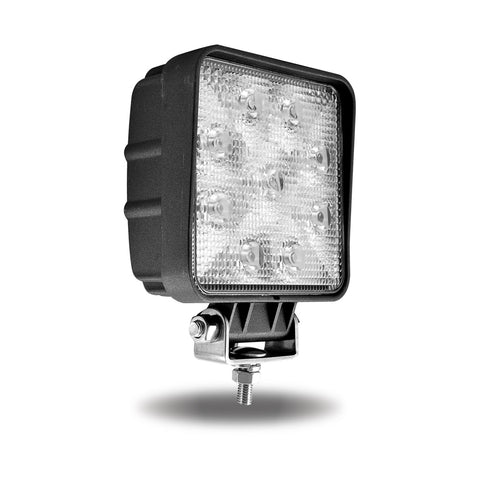 Universal White Square Work Light - Clear Lens - Black Housing (9 Diodes) - 900 Lumens