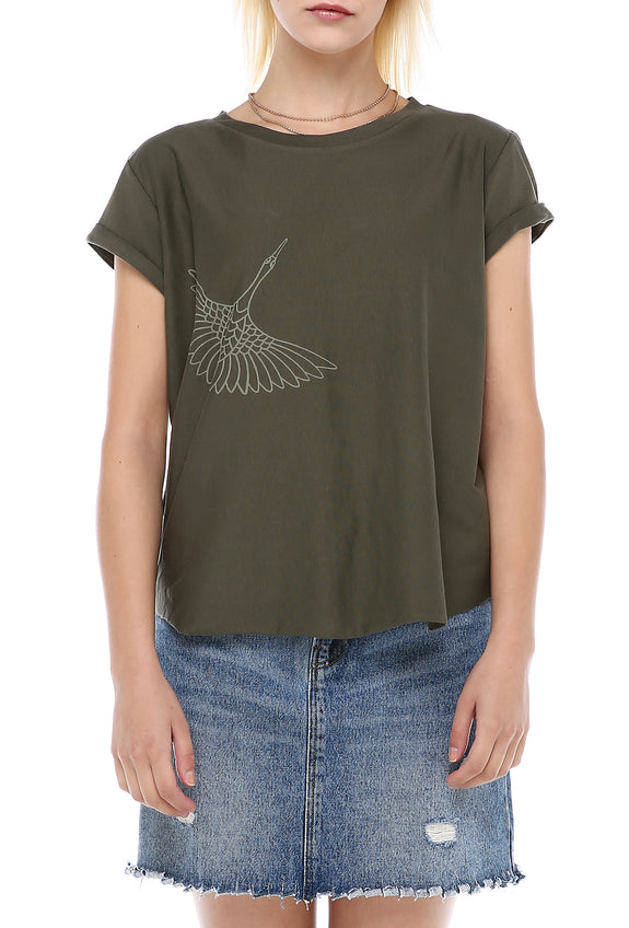 Fly Away Home Tee - Olive Green
