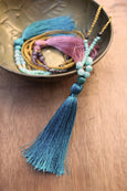 Trinket Tassel Necklace - Teal