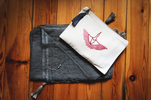 Wings In Motion Crane Clutch - Rose