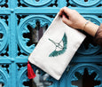 Wings In Motion Crane Clutch - Emerald Green