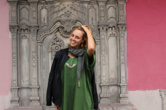 Rumi Kaftan - Meadow Green, Long-Length