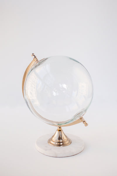 Wanderlust is Must Globe- Small Glass Globe with Marble Base
