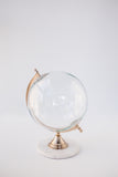 Wanderlust is a Must Globe- Large Glass Globe with Marble Base