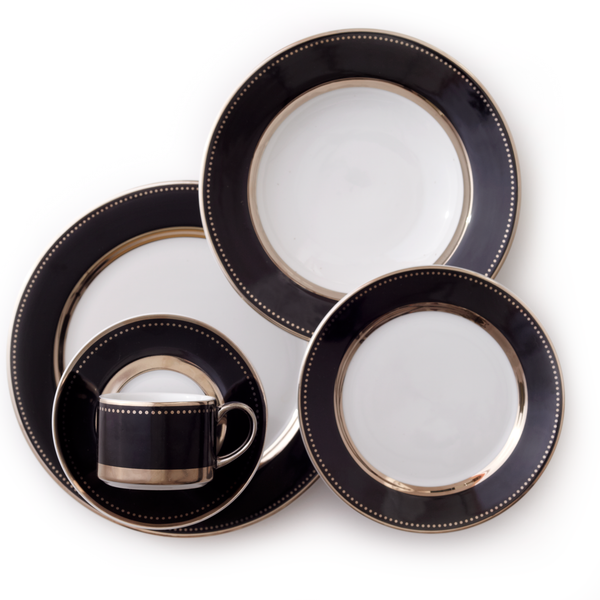 Black Luxe Platinum 5 Piece Dinnerware Set