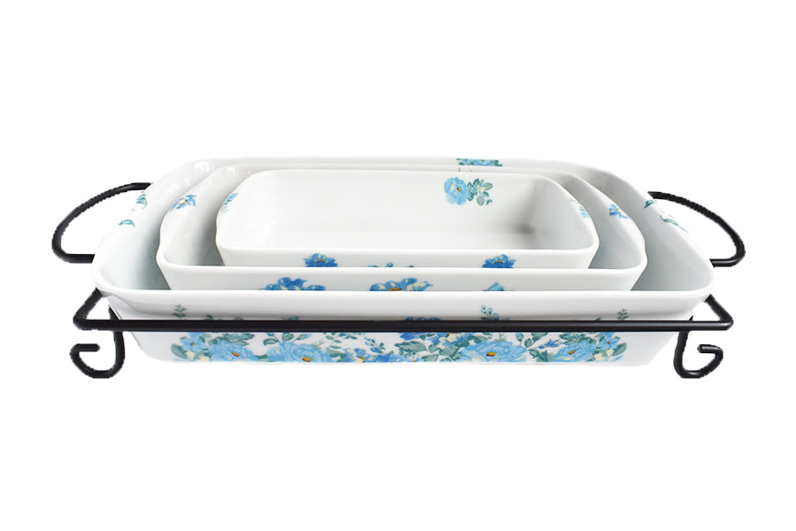 Darbie's Rose 4 Piece Bake Set Periwinkle