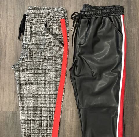 David Lerner - Plaid Jogger, Vegan Leather Pant