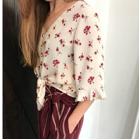 Palazzo Pant and Floral Flare Top - Moon River