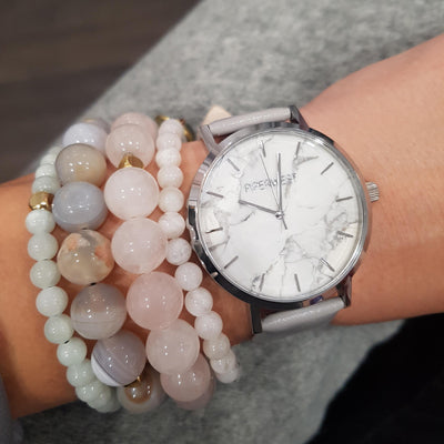 Piperwest - Classic White Marble-Silver Grey Strap