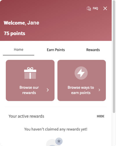 Rewards dialog for a logged in account