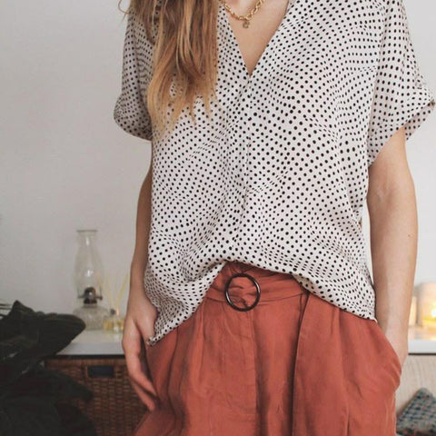 Dotted Line Blouse & Cupro Pant