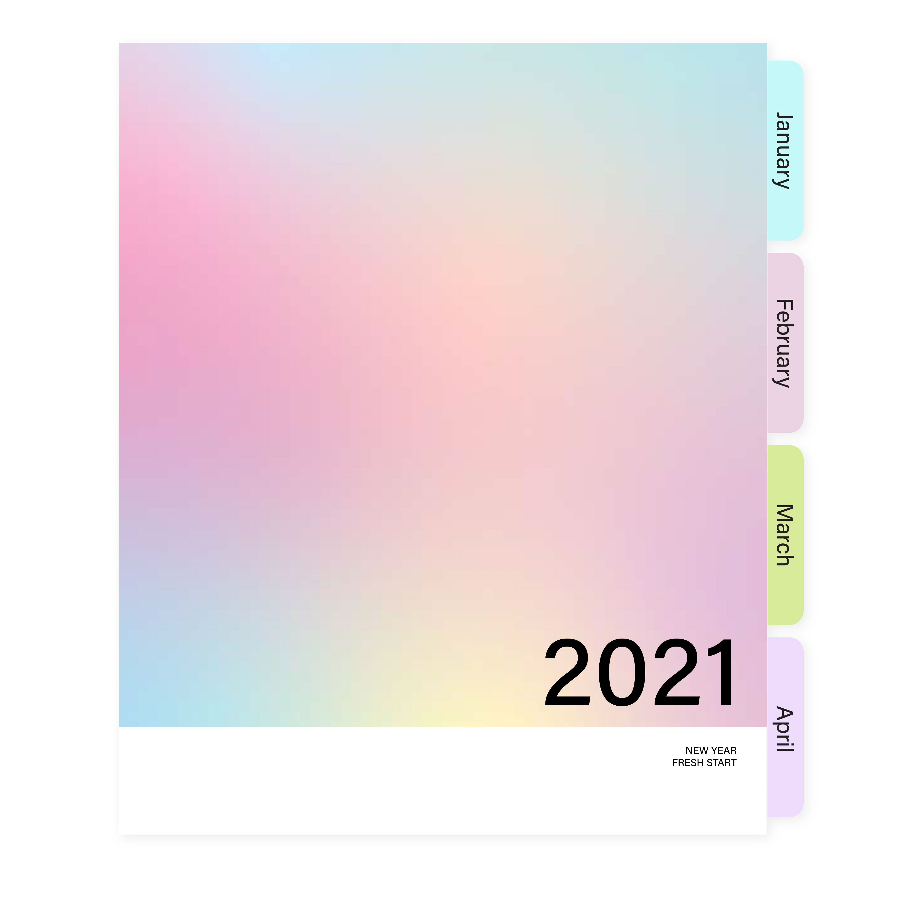 2021 Rainbow Pastel Dated A5W Insert