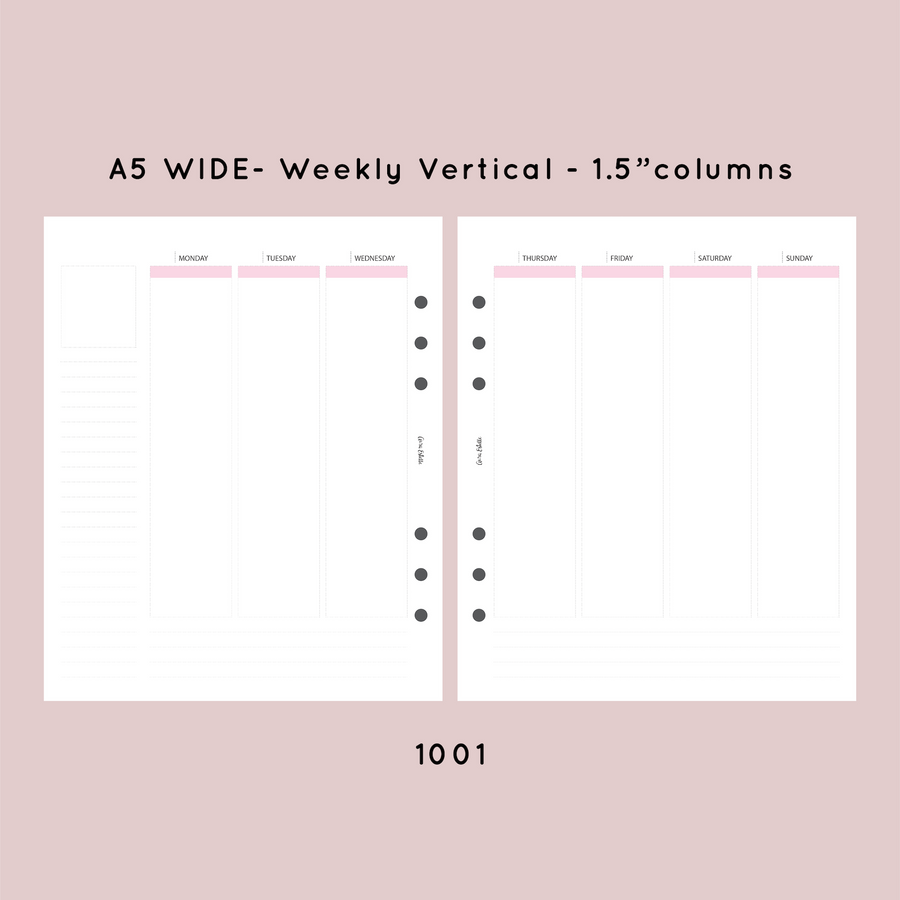 IN STOCK | WEEKLY VERTICAL INSERTS | CLOUD | A5 Wide | A5W-WK-V-1001