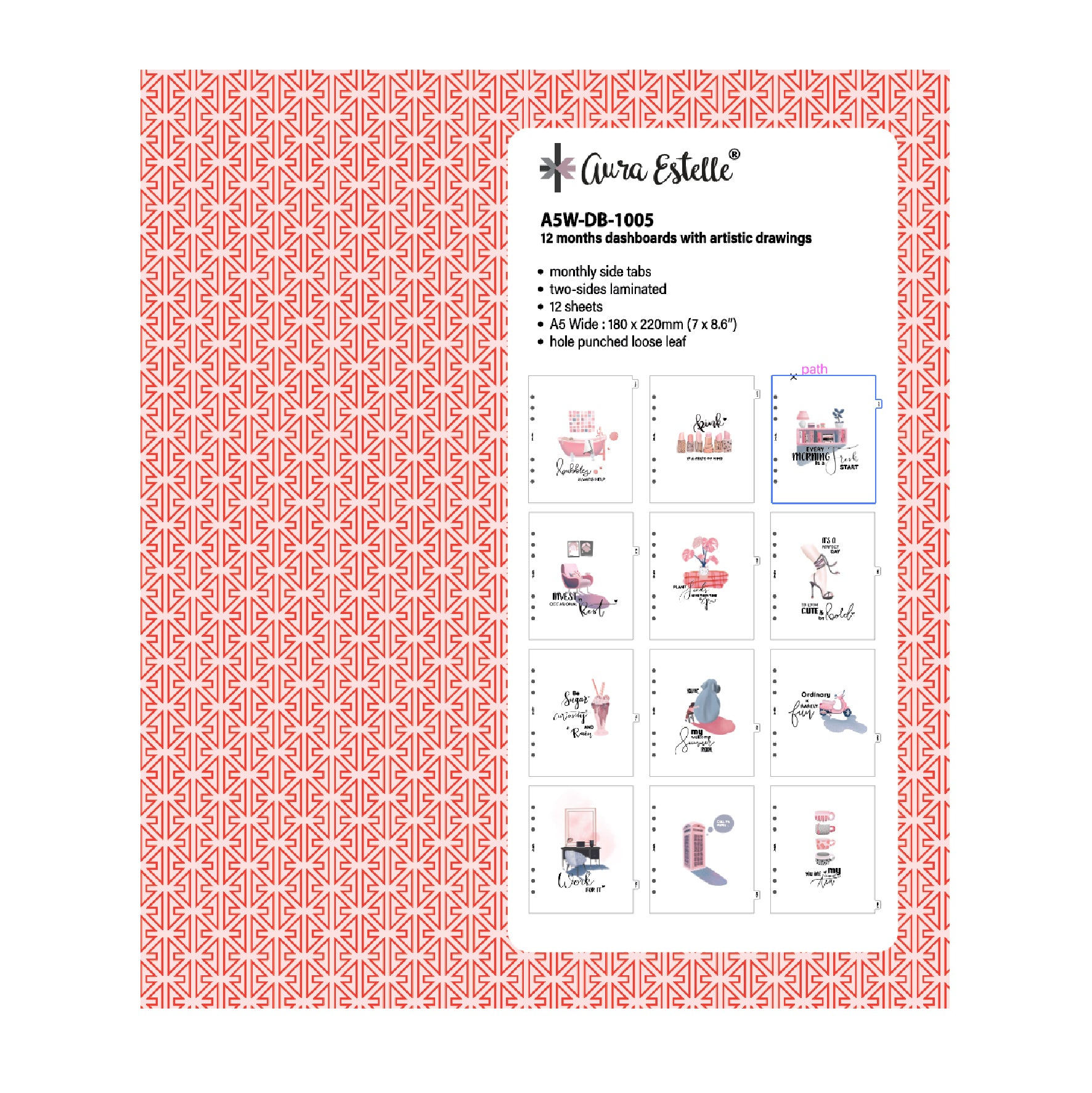 12 MONTHS DASHBOARDS WITH ARTISTIC DRAWINGS A5W 1005