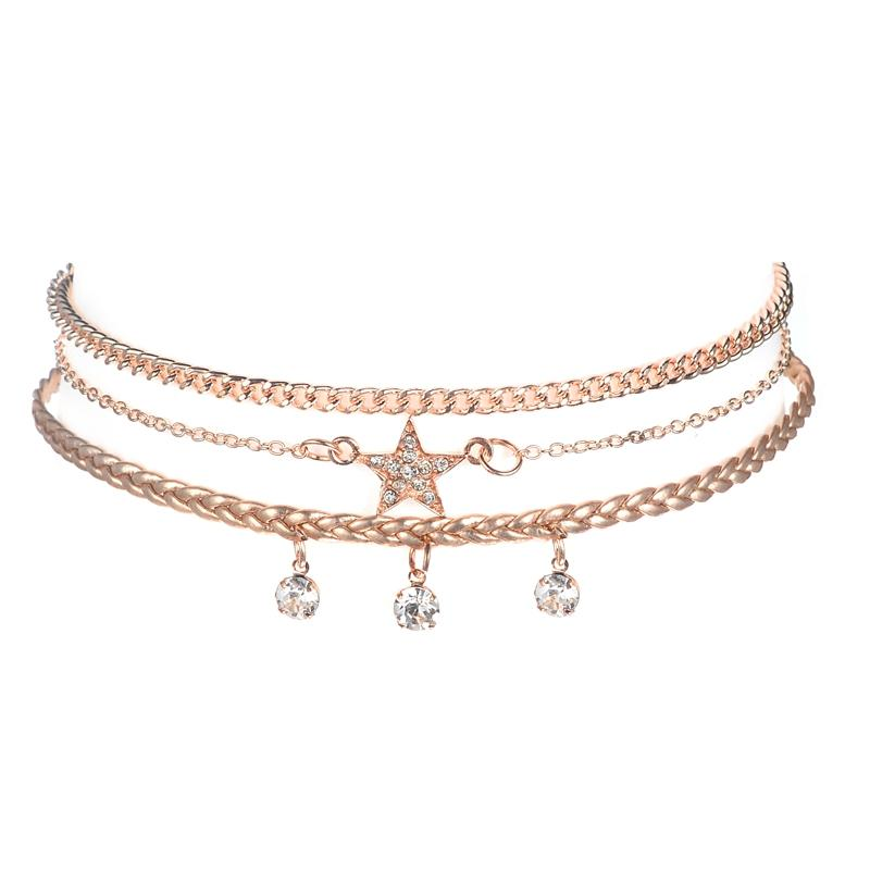 The Stars and Crystal Gold Choker