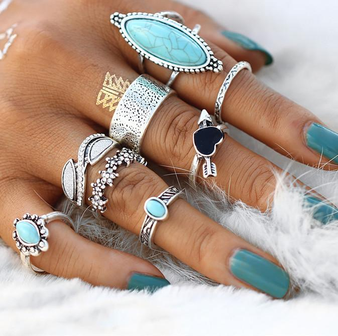 The Turquoise Heart Ring Set