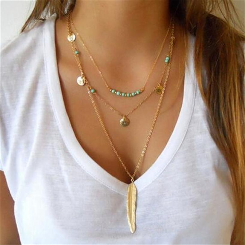 The Turquoise Feather Multi Layer Necklace