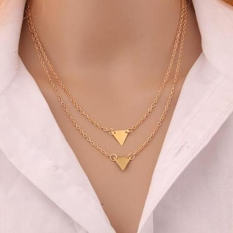 The Double Layered  Triangle Necklace