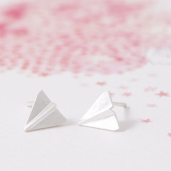 The Origami Airplane Stud Earrings
