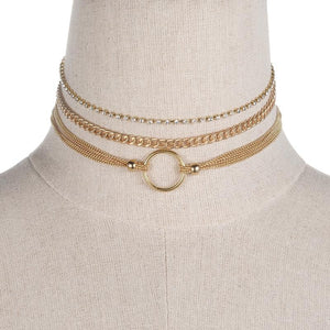 The Gold Color Chain Choker Set