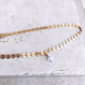 The Gold Coin Crystal Pendant Choker