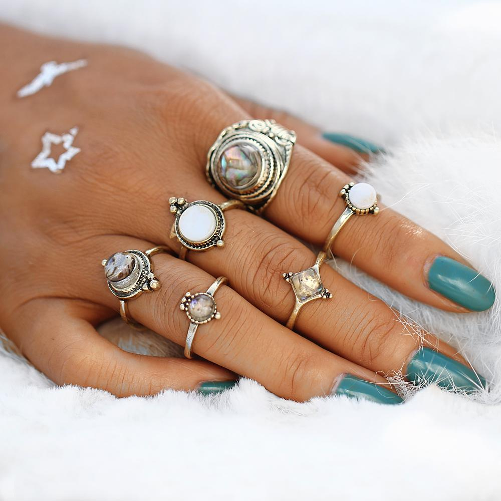 The Opal and Big Stone Ring Set
