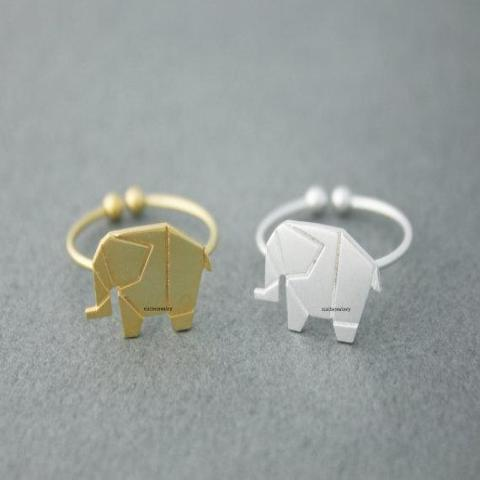 The Tiny Origami Elephant Ring