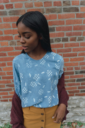 mini checkered floral boxy crop top