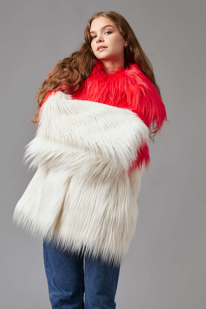 COWL NECK FUR JACKET IN RED/WHITE