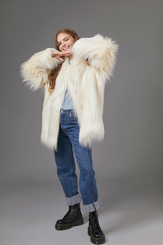 COWL NECK FUR JACKET IN WHITE