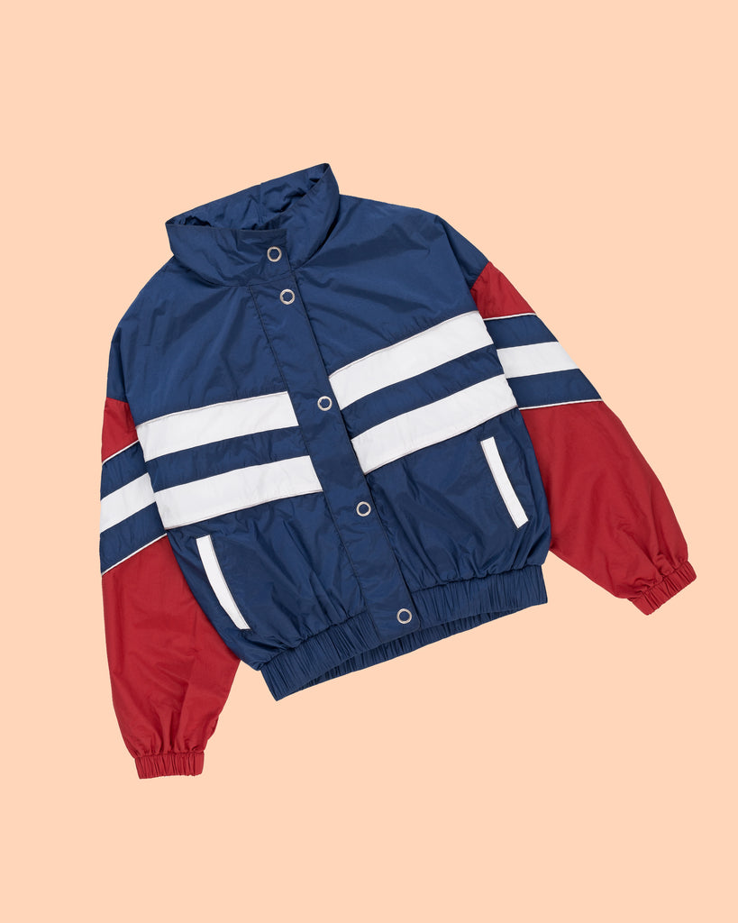 PACKABLE STRIPED JACKET IN NAVY/ SANGRIA/ WHITE (SOLD OUT)