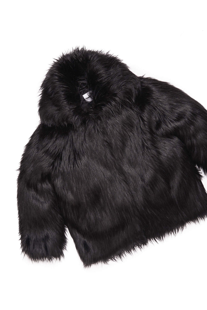 BLACK COWL NECK FUR SWEATER (SOLD OUT)