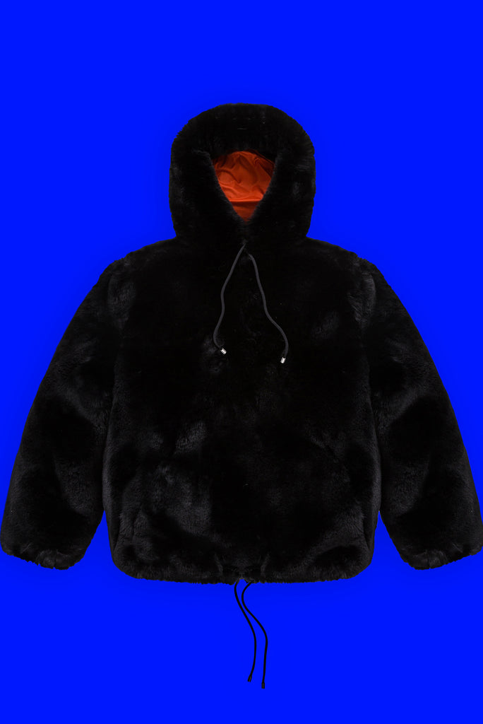FUR PULLOVER IN BLACK
