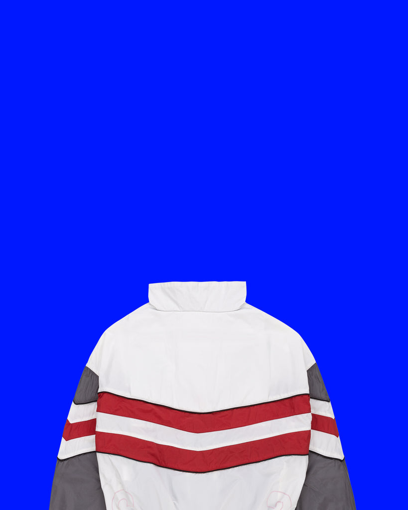 PACKABLE STRIPED JACKET IN WHITE/ FILM/ SANGRIA (SOLD OUT)